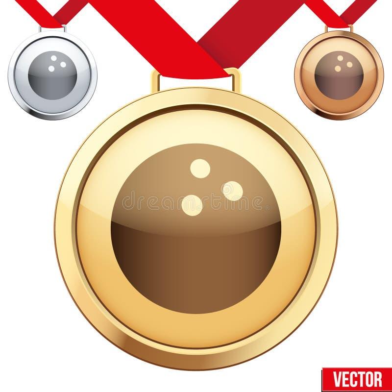 Guldmedalj med symbolet av en bowling inom vektor illustrationer