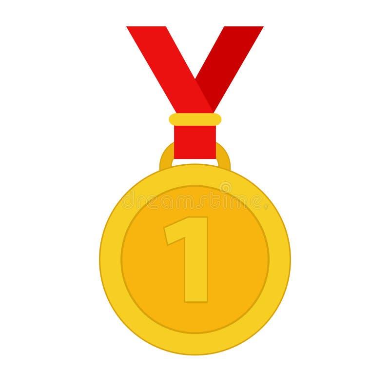 Guldmedaljen för vinnare med det röda bandet, lagerför vektorillustrationen stock illustrationer