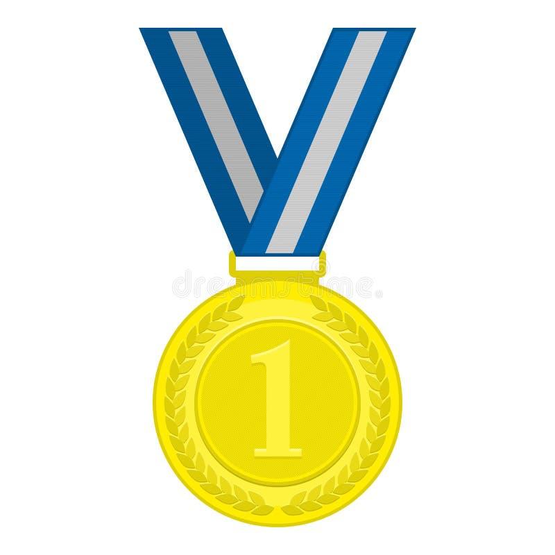 Guldmedaljen förlägger först stock illustrationer