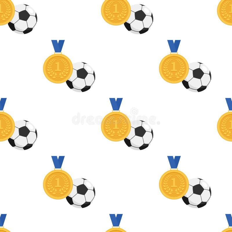 Guldmedaljen och fotboll klumpa ihop sig sömlöst royaltyfri illustrationer