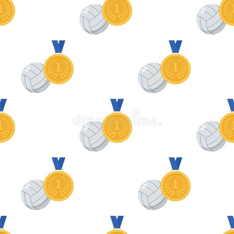 Guldmedaljen och volleyboll klumpa ihop sig sömlöst stock illustrationer