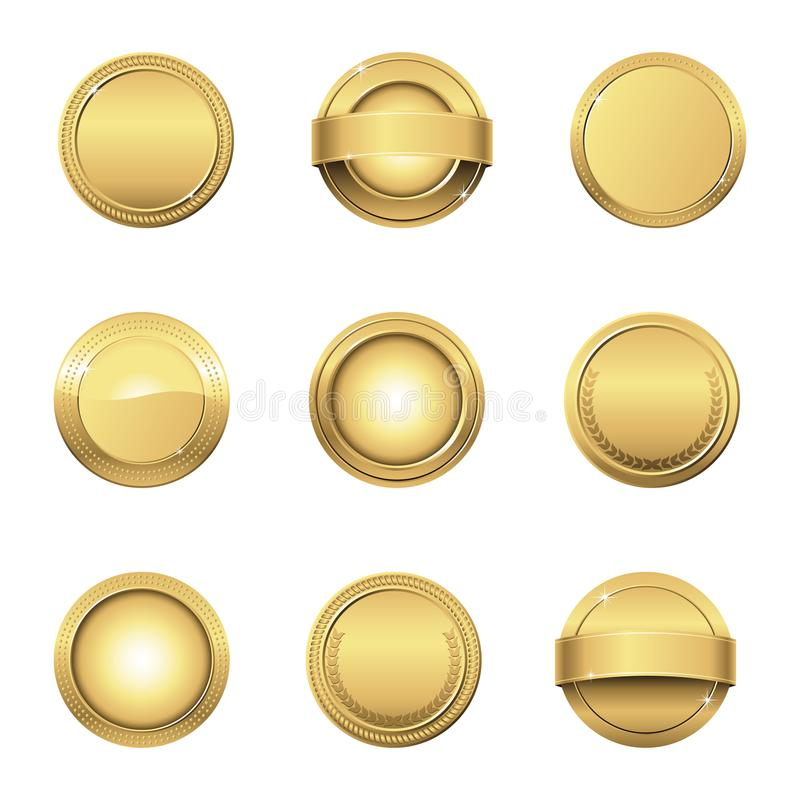Guldmedaljer stock illustrationer