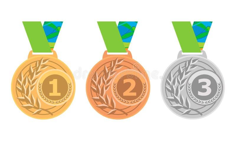 Guldmedaljsymbol Silvermedaljsymbol Bronsmedaljsymbol Medaljuppsättning vektor för set för tecknad filmhjärtor polar royaltyfri illustrationer