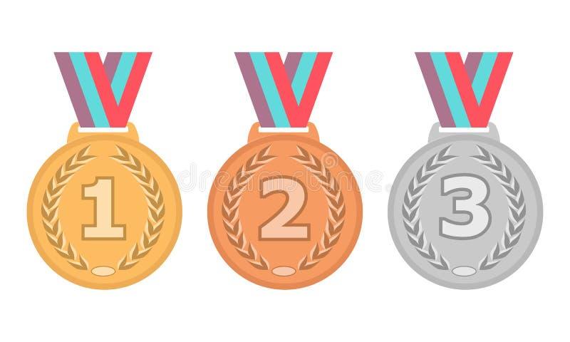 Guldmedaljsymbol Silvermedaljsymbol Bronsmedaljsymbol Medaljuppsättning vektor för set för tecknad filmhjärtor polar Isolerad med royaltyfri illustrationer