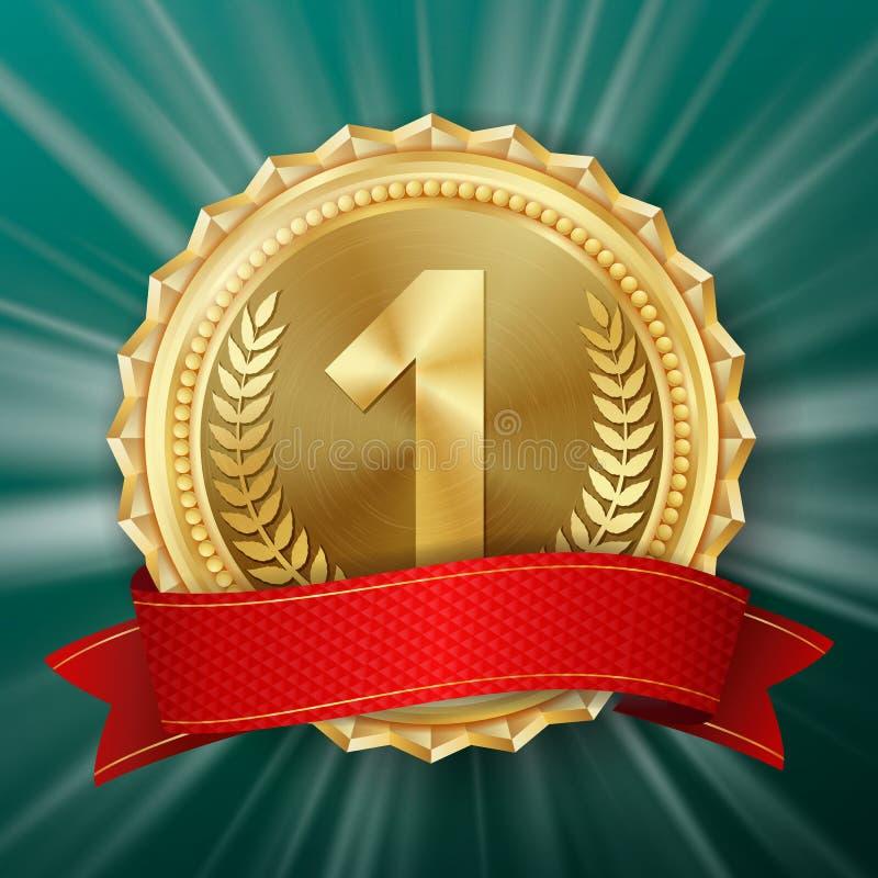 Guldmedaljvektor Guld- 1st ställeemblem Metallisk vinnareutmärkelse rött band Oliv förgrena sig realistisk ballonsillustration stock illustrationer