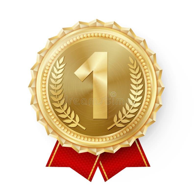 Guldmedaljvektor Guld- 1st ställeemblem Modig guld- utmaningutmärkelse för sport rött band isolerat Oliv förgrena sig royaltyfri illustrationer