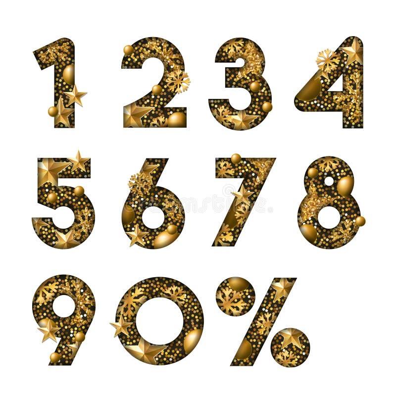Guldnummer för vektor 3d Papper klippta arabiska tal Planlägg för vinterförsäljningsbanret, affischen, etiketter, årsdagkort vektor illustrationer