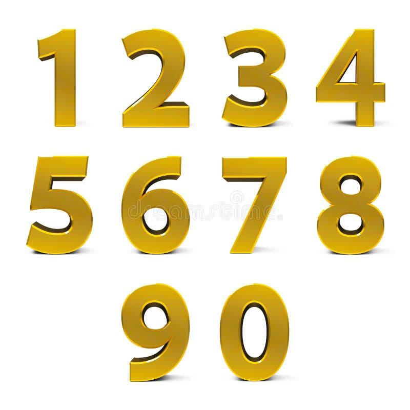 Guldnummeruppsättning vektor illustrationer