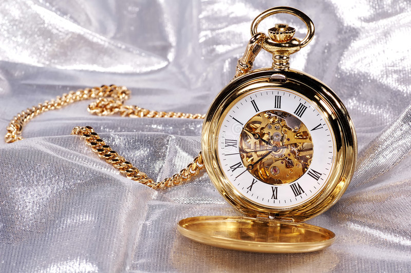 guldpocketwatch arkivbilder