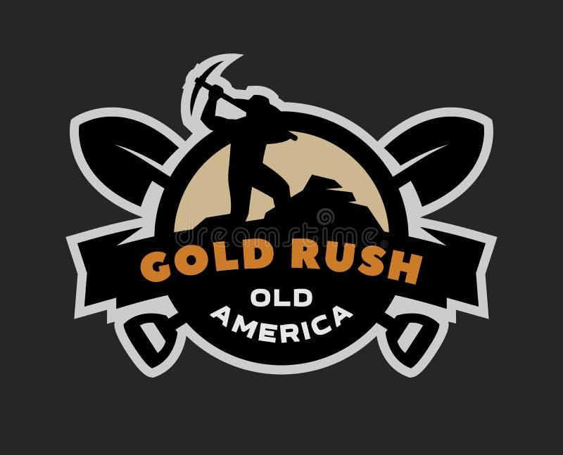 Guldrusch emblem, logo royaltyfri illustrationer