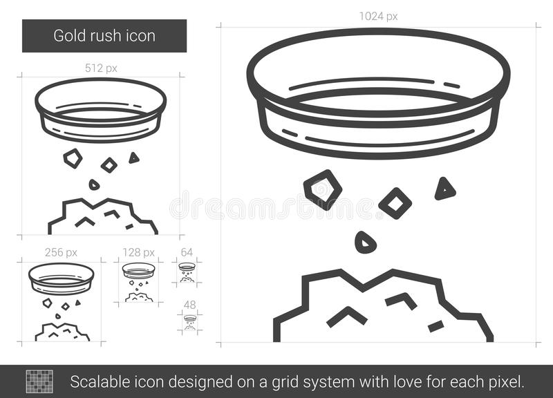 Guldruschlinje symbol royaltyfri illustrationer