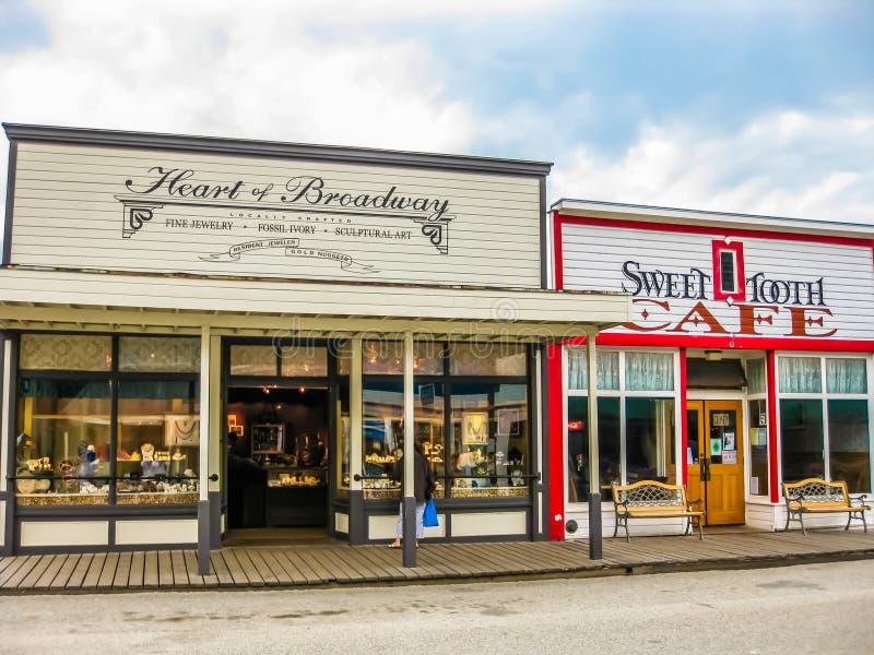 Guldruschstad, Skagway, Alaska arkivfoto