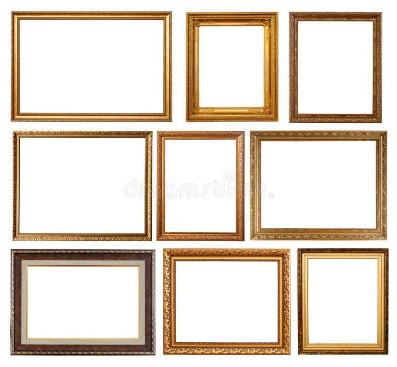 guldset för 9 ramar royaltyfri fotografi
