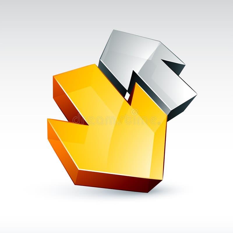 guldsilver för pilar 3d vektor illustrationer