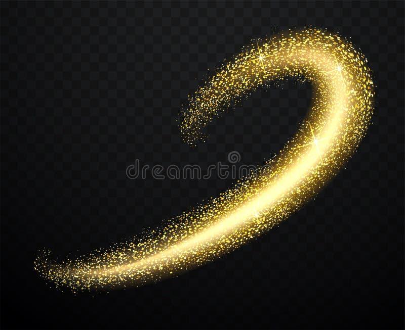 Guldstoft med skinande partiklar Flyggnistavåg royaltyfri illustrationer