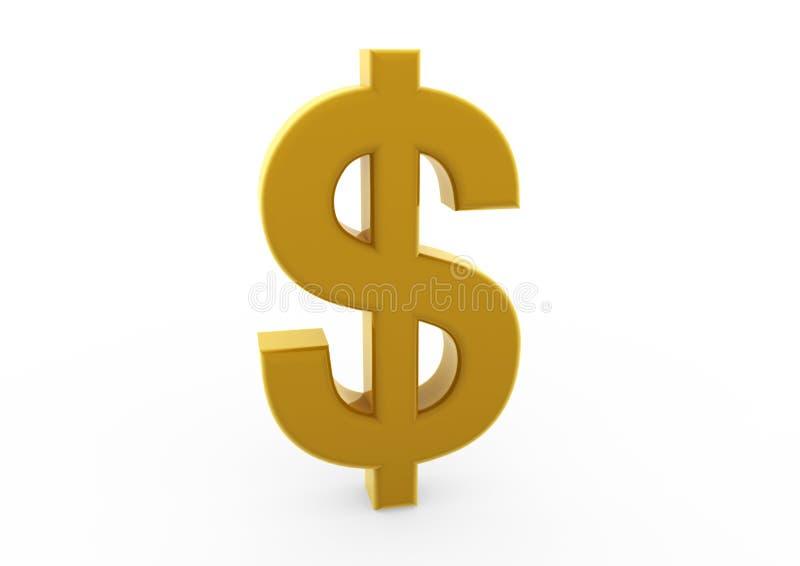 guldsymbol för dollar 3d royaltyfri illustrationer