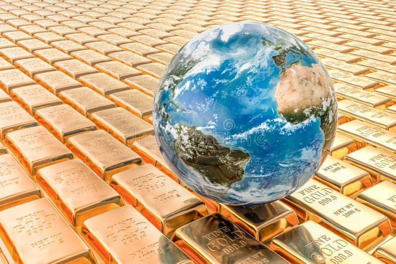 Guldtackabakgrund med jordjordklotet, tolkning 3D stock illustrationer