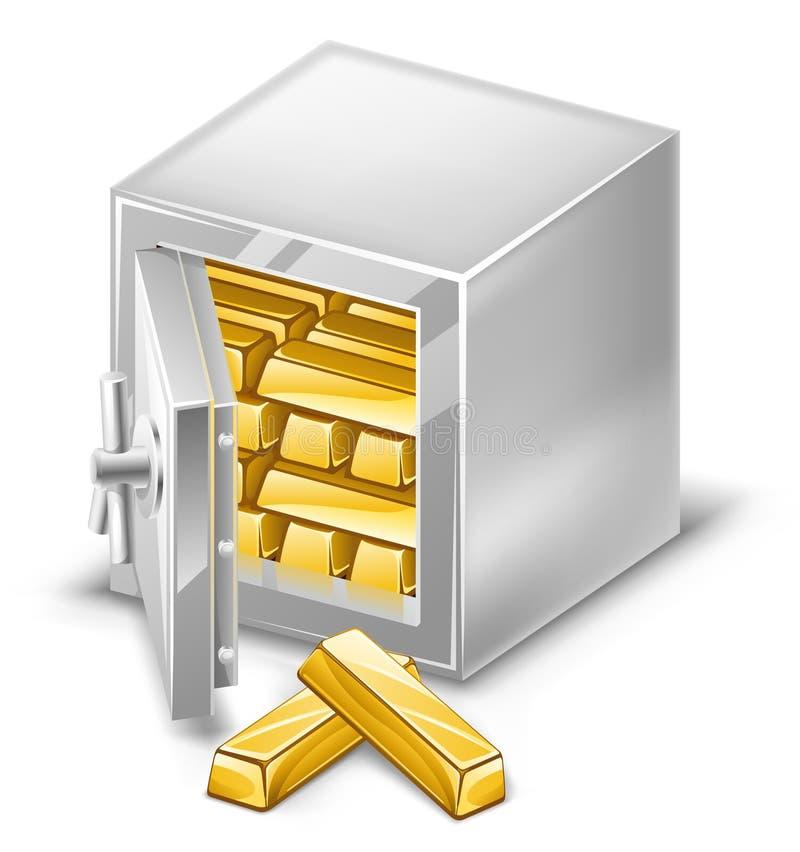 guldtackor öppnade safen vektor illustrationer