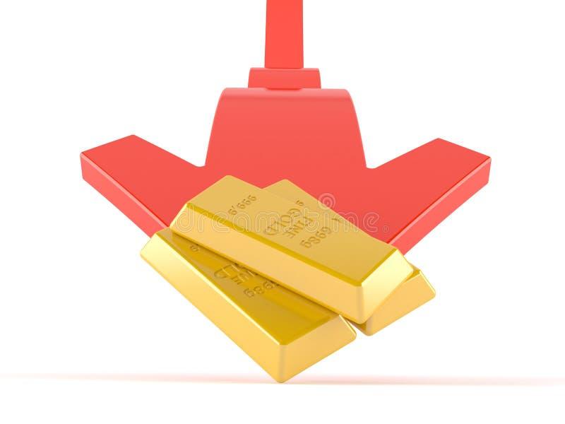 Guldtackor med den röda pilen stock illustrationer