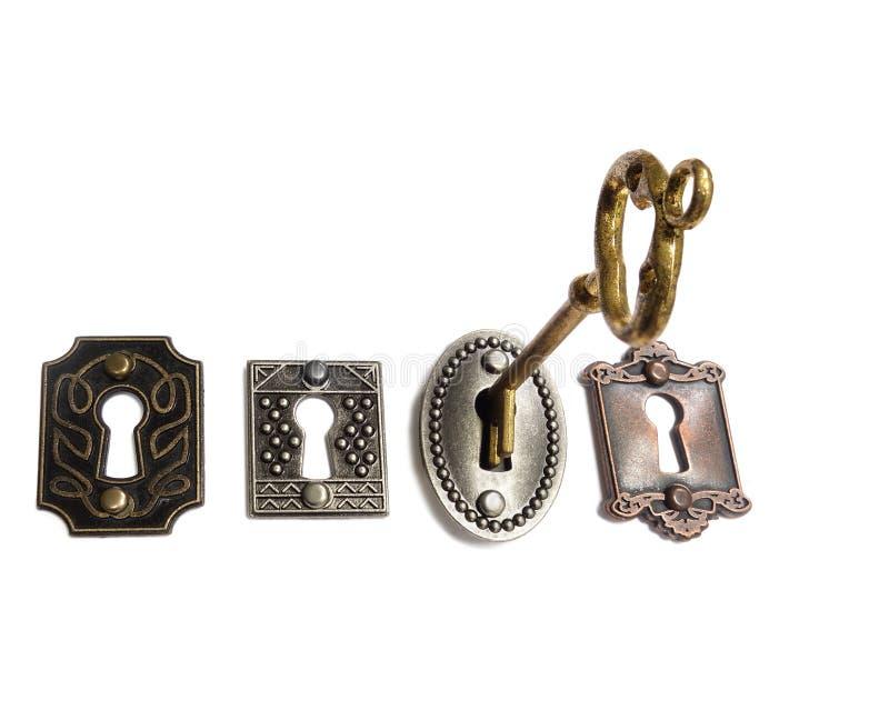 Guldtangent och lås på vit fotografering för bildbyråer