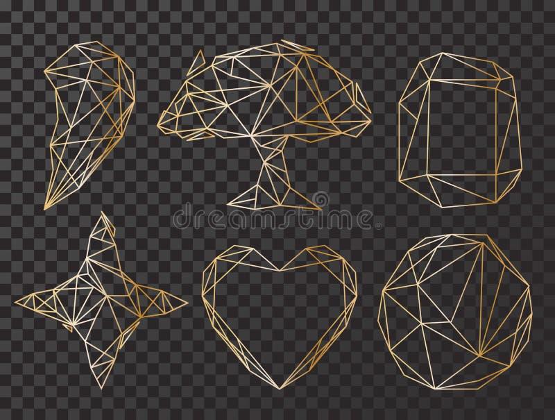 Gulduppsättning med den geometriska polyhedronen, art décostil för att gifta sig inbjudan, lyxiga mallar, dekorativa modeller stock illustrationer
