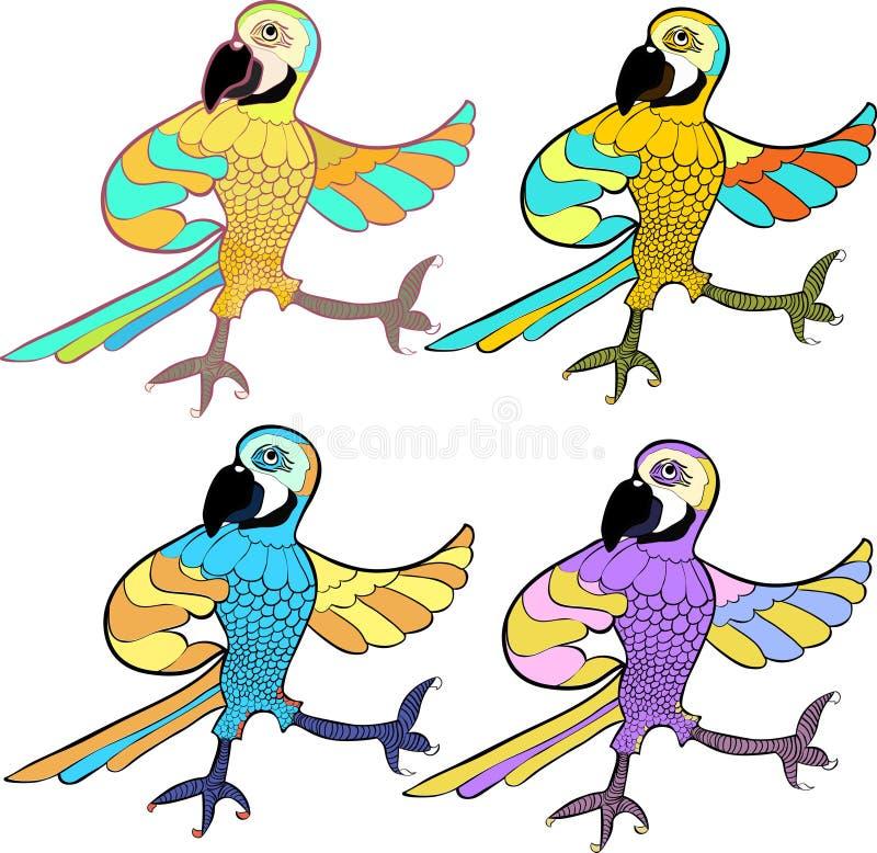 Gulduppsättning med den roliga karibiska papegojan för dans också vektor för coreldrawillustration royaltyfri illustrationer