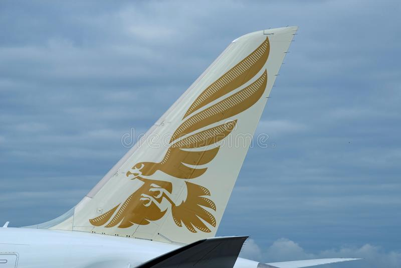 Gulf Air First Boeing 787-9 tail featuring logo royalty free stock photo