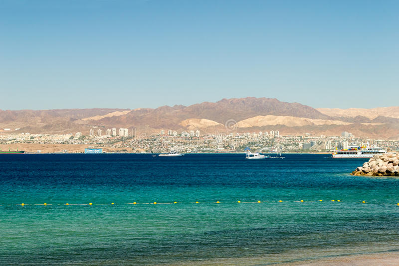 Gulf of Aqaba. View of Gulf of Aqaba with Eilat city on background stock photo