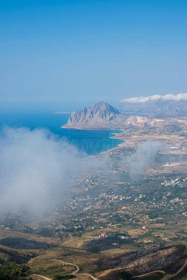 Gulf of Bonagia and Monte Cofano. Trapani, Sicily, Italy. Gulf of Bonagia and Monte Cofano nature reserve in the coast of province of Trapani. Panoramic royalty free stock photography