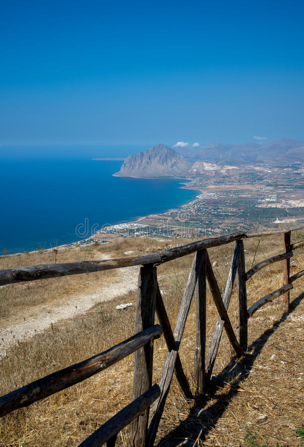Gulf of Bonagia and Monte Cofano. Trapani, Sicily, Italy. Gulf of Bonagia and Monte Cofano nature reserve in the coast of province of Trapani. Panoramic royalty free stock image