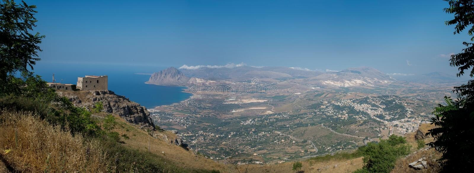 Gulf of Bonagia and Monte Cofano. Trapani, Sicily, Italy. Gulf of Bonagia and Monte Cofano nature reserve in the coast of province of Trapani. Panoramic royalty free stock images