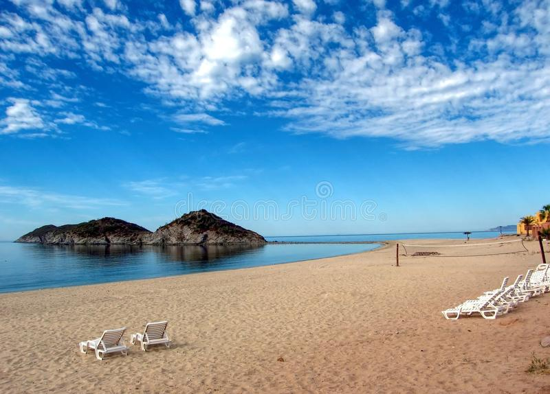 Gulf of California from Cotton Beach, San Carlos, Mexico. San Luis Island protrudes from the shallow waters of the Gulf of California in North Bay, near San royalty free stock photos