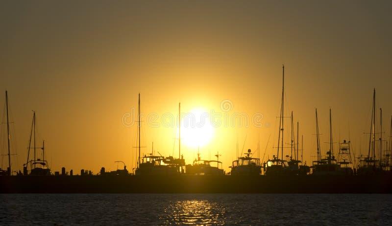 Gulf Coast Marina at Sunset stock photography