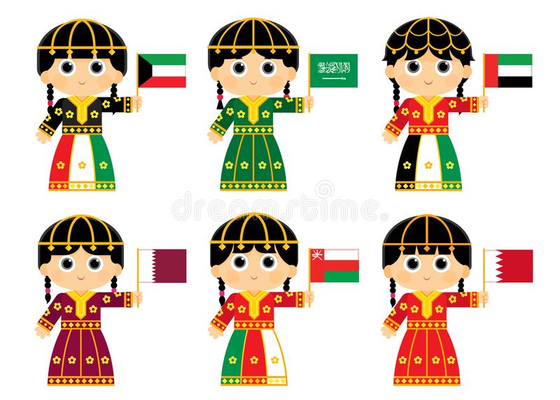 Gulf Cooperation Council Flags. Kuwait , Saudi Arabia , United Arab Emirates , Qatar , Oman and Bahrain royalty free illustration