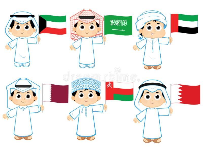Gulf Cooperation Council Flags. Kuwait , Saudi Arabia , United Arab Emirates , Qatar , Oman and Bahrain stock illustration