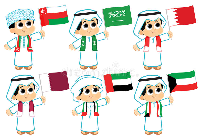Gulf Cooperation Council Flags. Oman , Saudi Arabia , Bahrain , Qatar , United Arab Emirates and Kuwait stock illustration