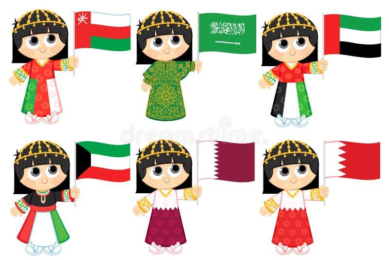 Gulf Cooperation Council Flags. Oman , Saudi Arabia , United Arab Emirates , Kuwait , Qatar and Bahrain royalty free illustration