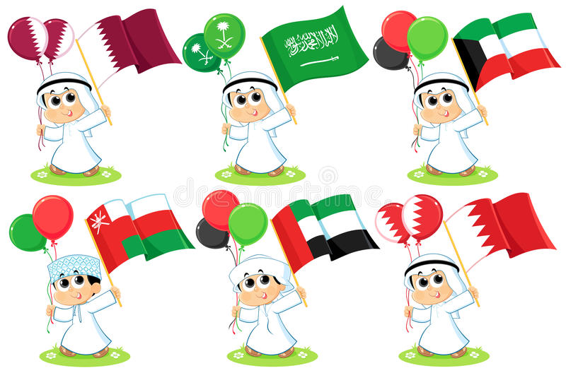 Gulf Cooperation Council Flags. Qatar , Saudi Arabia , Kuwait , Oman , United Arab Emirates and Bahrain vector illustration