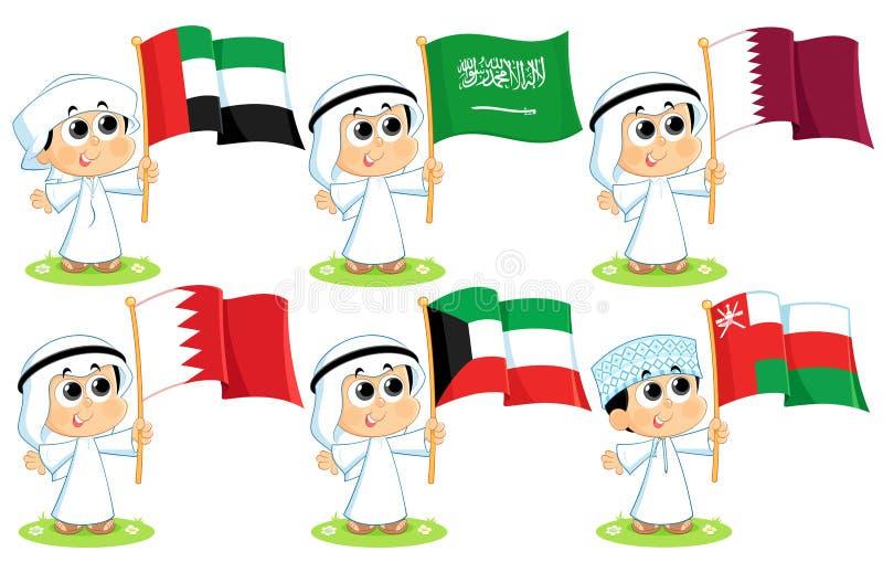 Gulf Cooperation Council Flags. United Arab Emirates , Saudi Arabia , Qatar , Bahrain Kuwait and Oman vector illustration