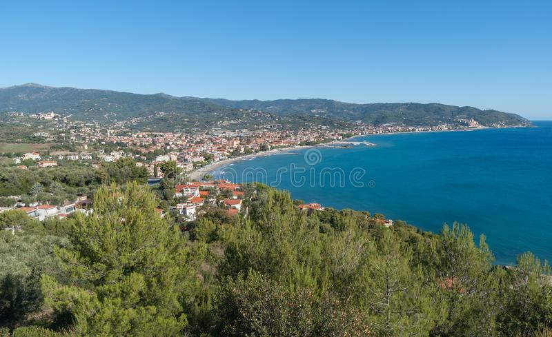 The Gulf of Diano Marina, Italian Riviera stock image