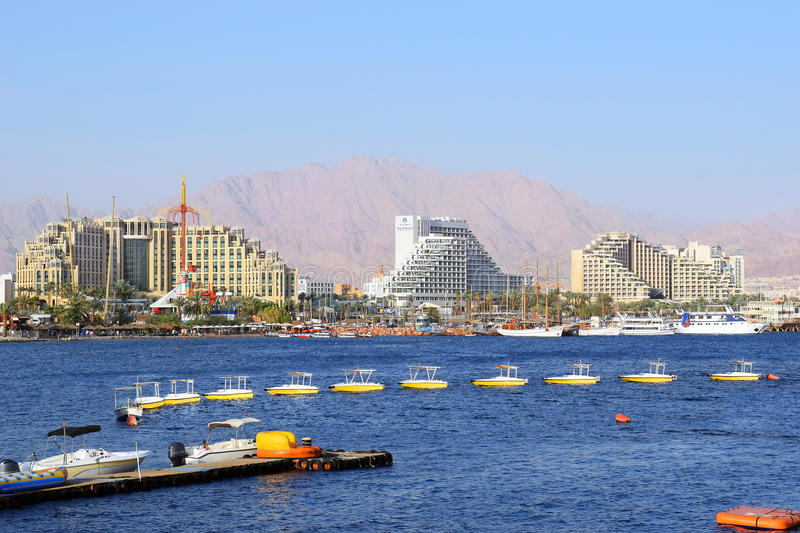 Gulf of Eilat, luxurious hotels in popular resort - Eilat. Eilat, Israel - MAY 17 : views of the luxurious hotels in popular resort - Eilat of Israel from Gulf royalty free stock photography