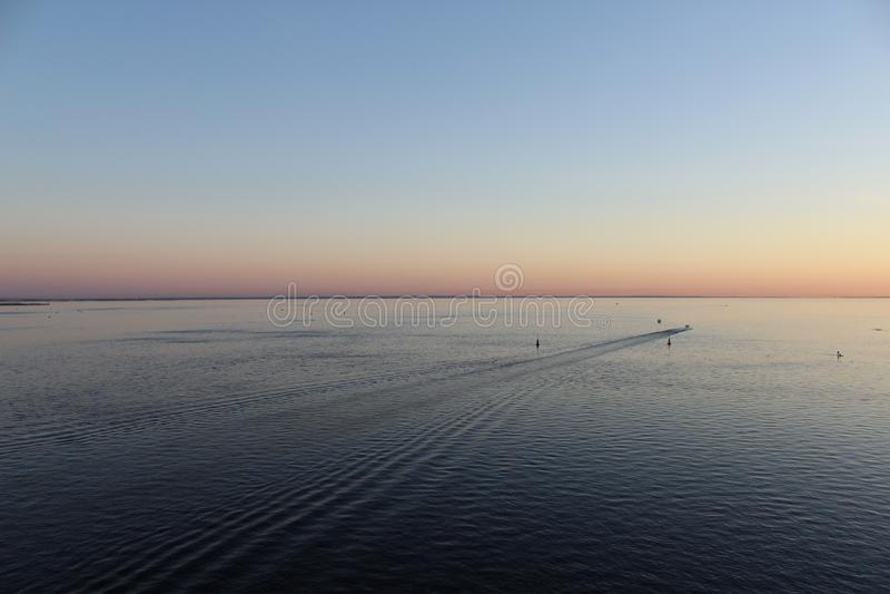 Gulf of Finland в вечере, голубой след моря от шлюпки и розовый свет в небе стоковое изображение rf