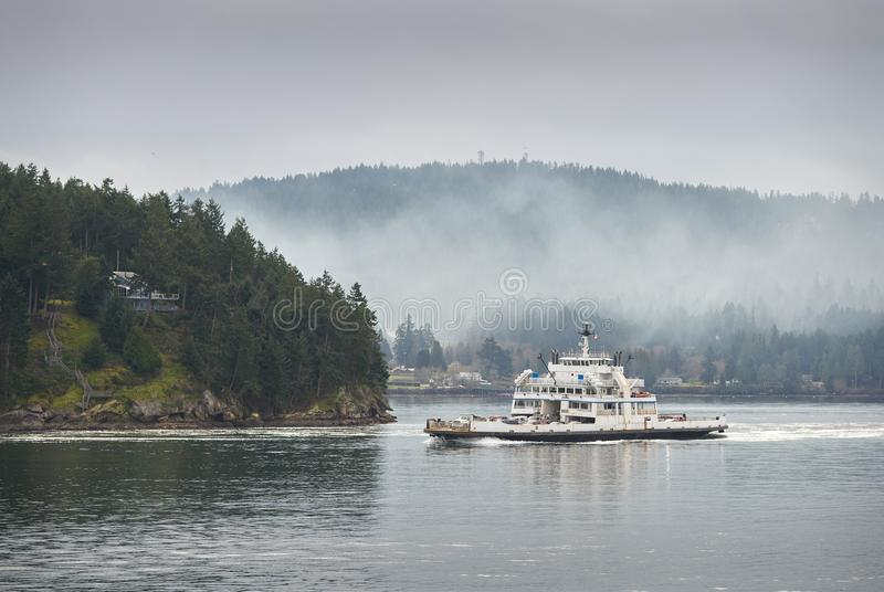 Gulf Island Ferry, British Columbia. A BC Ferry travelling through the Gulf Islands in British Columbia stock photos