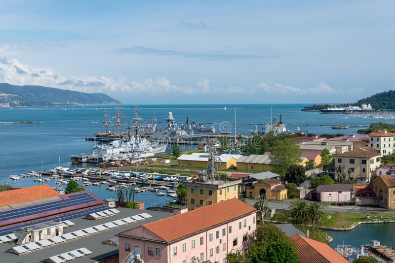 Gulf of La Spezia with a port royalty free stock images