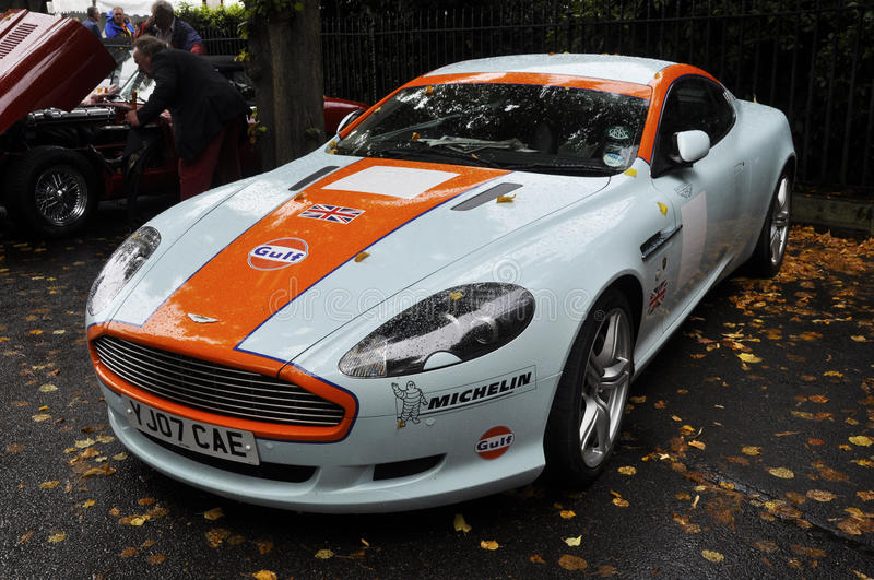 Gulf livery Aston Martin DB9 royalty free stock images