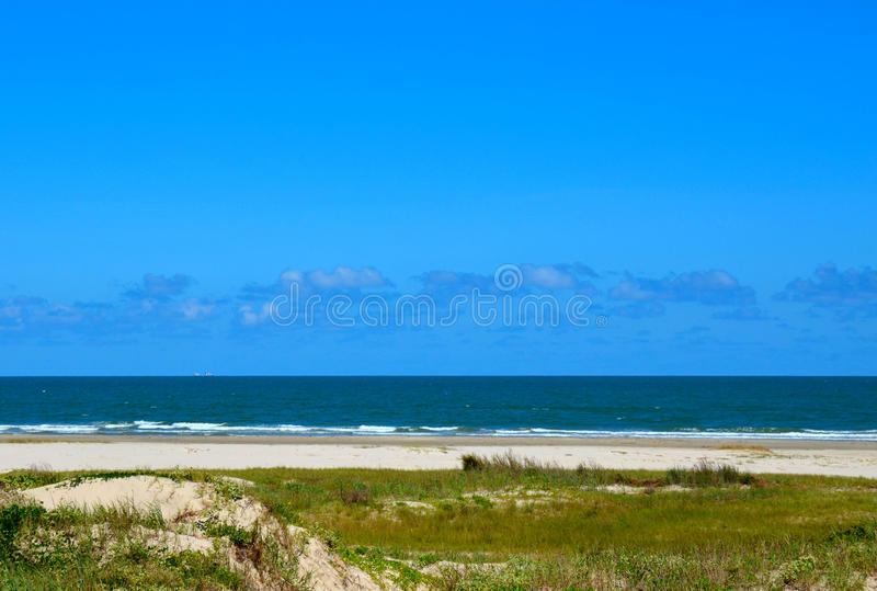 Gulf of Mexico Ocean Beach. Located at Galveston, Texas, USA stock images