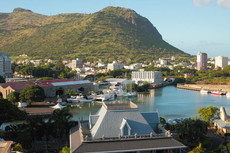 Gulf at mountain foot to Port Louis, Mauritius. 09-01-2016 stock images