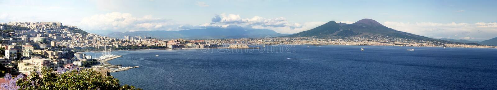 Gulf of Naples. Panoramic view of the gulf of Naples with mount Vesuvius in the background stock photos