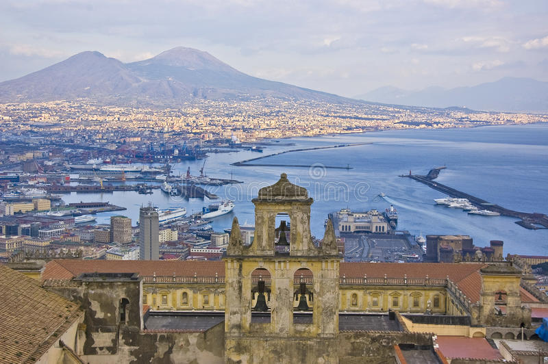 The gulf of naples. The Vesuvius view, Naples, Italy royalty free stock photos