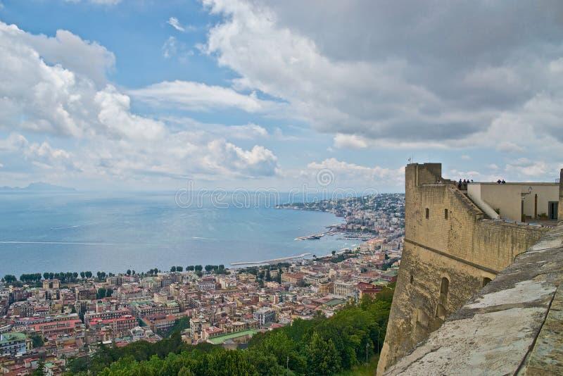 Naples panorama and Capri Island stock image